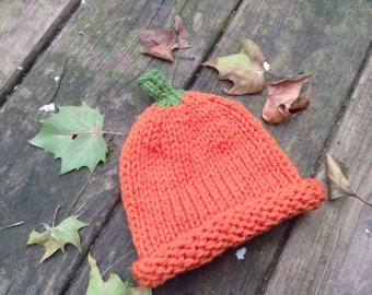 New Born Baby and Toddler Pumpkin Knit Hats - Pumpkins Hats - Toddler Hats - Infant Hats - Kids Hats - Halloween