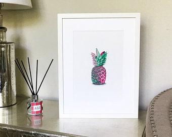 Giclée Mounted Print- Pink Pineapple