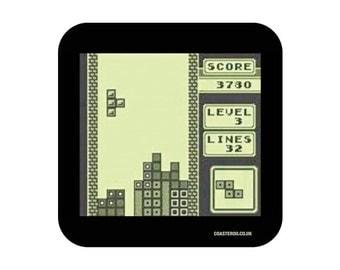 "NOVELTY Drinks Coaster ""Tetris"" - Hardboard / Gloss Finish - Retro gaming screenshot design"