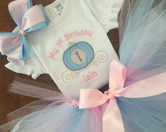 Personalized embroidered My First Birthday Princess Carriage Coach shirt Tutu Outfit Cinderella Birthday Party Disney 2nd 3rd 4th 5th