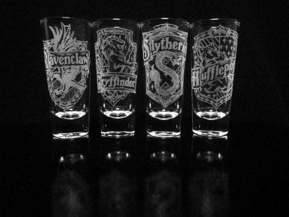 Items Similar To Harry Potter House Crest Shot Glasses