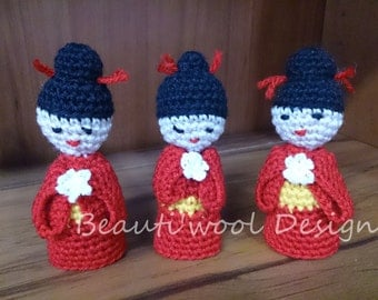 Pattern for Amigurumi Geisha Finger Puppet. Pattern Only. Instant Download PDF Crochet Pattern