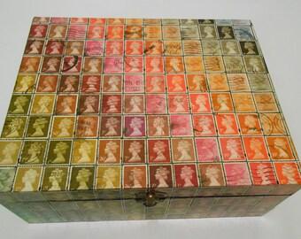 British Postage Stamp rainbow stripe Decoupage Large Wooden Box & Lid