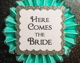 Here Comes The Bride..Bachelorette Party..Bridal Party Favors..Bride Pin..