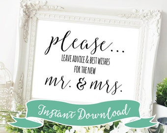 SALE PRINTABLE 5 x 7 Please Leave Advice and Best Wishes For The New Mr. and Mrs. Wedding Sign or Bridal Shower Sign. Instant Download.