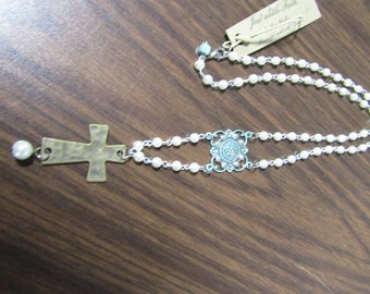 Pearls Turquoise and Cross Necklace