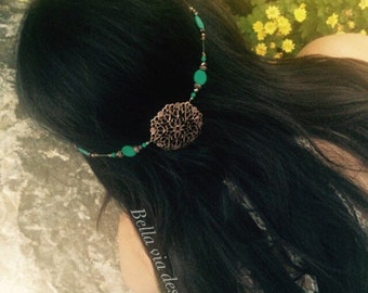 Turquoise Hair Jewelry Accessory, Head Jewelry Accessory, Copper Medallion Turquoise Beads, Boho Hippie Head Chain.