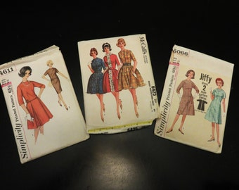 Vintage Ladies Sewing Patterns, Simplicity 4611 Two Piece Dress, Simplicity 5066 One Piece Jiffy Dress, McCalls 6425 Proportioned Dress