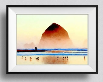 Cannon Beach, Oregon,Print,painting,watercolor,Pic no 63