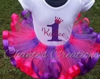 Hot pink and purple princess tutu set