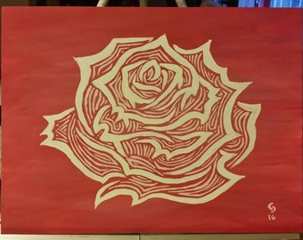 Rose Lines Acrylic Painting Pink and White