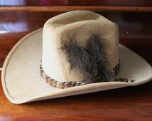 Corduroy Cowboy Hat, 70s Cowboy Hat, Lanning Hat, Size Small Cowboy Hat, Feather Hatband, Western Hat