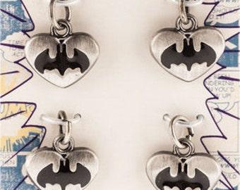 Batman earrings, Batman jewelry, Love Batman, Heart Batman, Batman Heart, Silver earrings, Dangle earrings