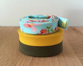 """Bias Tape- 1-yard Sampler Pack 1/2"""" double-fold cotton binding- Selection of 3 different fabrics"""