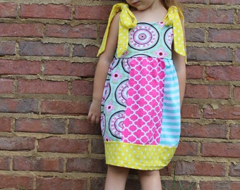 Colorful Print Tie Dress