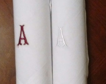 """Two Brand New Embroidered Initial """"A"""" Handkerchiefs"""