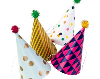 4 x Party Hats, Photo Booth Prop, Birthday Party Hat, Accessories,