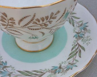 Royal Tuscan Fine Bone China,Tresco Pattern, English Fine Bone China,Tea Cup and Saucer,English Tea Party,Green,Gold Floral Pattern