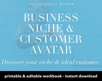 Business Niche & Customer Avatar Digital Workbook - Ideal Customer - Creative Business Course - Editable + Printable - Instant Download