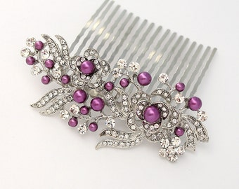 Purple Hair Comb, Bridal Bridemaid Hair Pin, Purple Wedding Hair Accesory, Crystal Pearl Comb, Purple Prom Hair Pin, Purple Comb