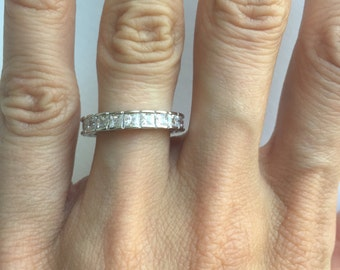 Princess Cut Eternity CZ wedding band ring,  CZ Stackable Band .925 Sterling Silver Ring All Around SIZE 6
