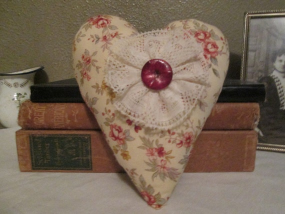 Heart Pillow Embellished  with vintage linen