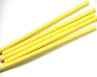 Yellow Chevron Striped Paper Straws, Wedding, Birthday, Vintage Paper Straw