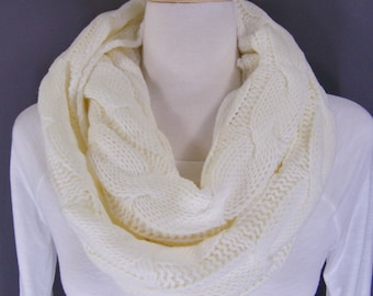 Cream cable knit infinity scarf soft chunky knit circle endless loop long circularCream Ivory Off White scarf cabled scarf fall winter scarf