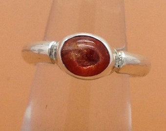 Handcrafted Sterling Silver and Sunstone Ring, Hallmarked.