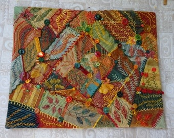 Fall themed crazy quilt
