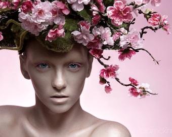 Moss & Cherry Blossom Headpiece