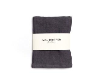 100% Linen Tea Towel in Charcoal