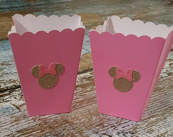 Minnie Mouse favor boxes, Minnie Mouse popcorn favor boxes, gold Minnie Mouse, gold Minnie Mouse favor container, Minnie Mouse party,
