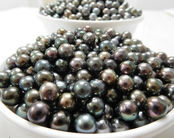 8-10mm Dark Round/Near-Round/Oval Loose Tahitian Pearls