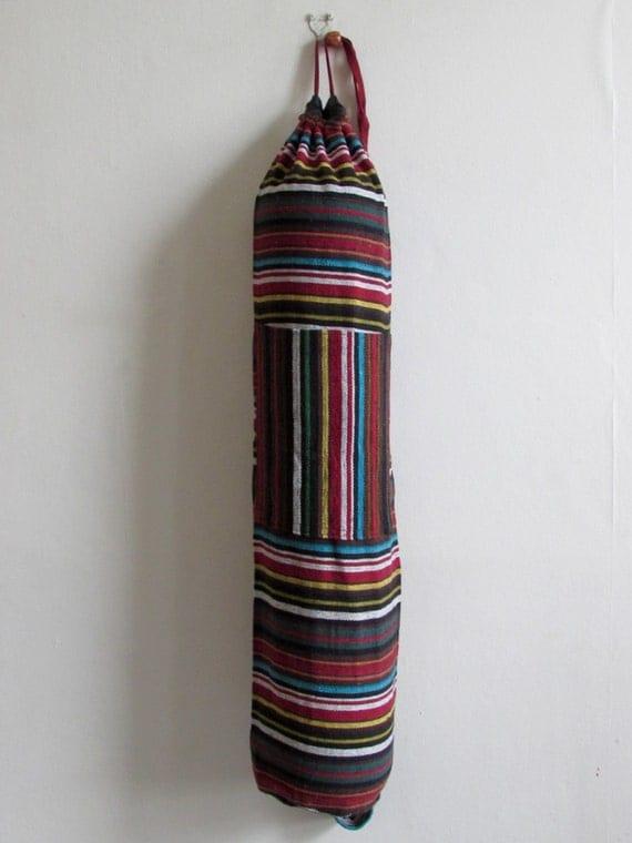 Yoga Mat Bag Pilates Mat Bag handmade Woven Cotton Multi Colour Stripes +  Free UK Delivery