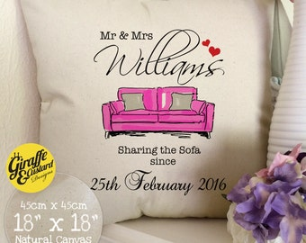 PERSONALISED 'Sharing the Sofa' Wedding anniversary Mr and Mrs Large Cotton Canvas Cushion Cover PINK