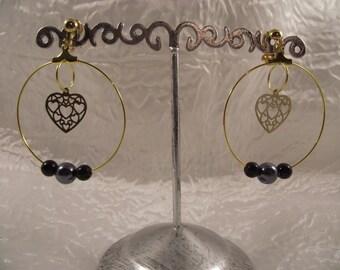Golden Creole clip earrings
