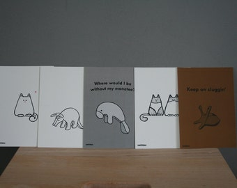 5 Smittens greeting cards, funny plushie cards, set