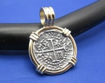 """Small """"1 Reale"""" Quality Reproduction of Atocha Shipwreck Coin in 14k Yellow Gold  Bezel with Barrel Bail Handmade by Crisol Jewelry"""