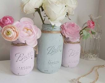Hand painted Ball Mason Jars. Set of 3 - Perfect for Weddings/ Home Decor/Outdoor/Centrepieces