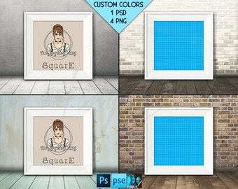Square #F01 Wide White Unmatted Frame on Wooden Floor, 4 Print Display Mockups, PNG PSD PSE Opening Square 20x20in 50x50cm, Custom colors