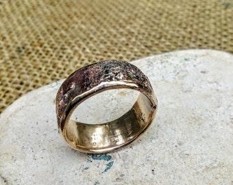 Textured Bronze Ring. 8mm Wide.