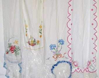 Shabby Chic Curtain/Vintage Embroidery/Vintage Doilies/FREE SHIPPING