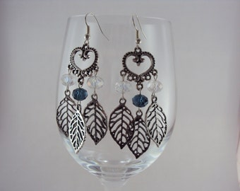 Blue & Clear Crystals with Leaf Charms Chandelier Earrings