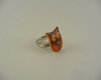 owl button button wire wrapped ring