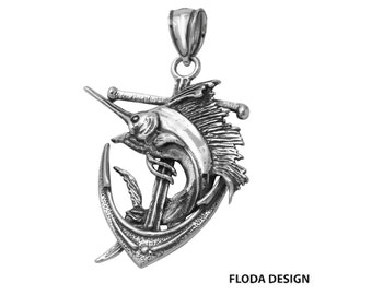 Blue Marlin on Anchor 3D Pendant in Sterling Silver, Blue Marlin Jewelry, Anchor Jewelry, Nautical Jewelry FD-18-7