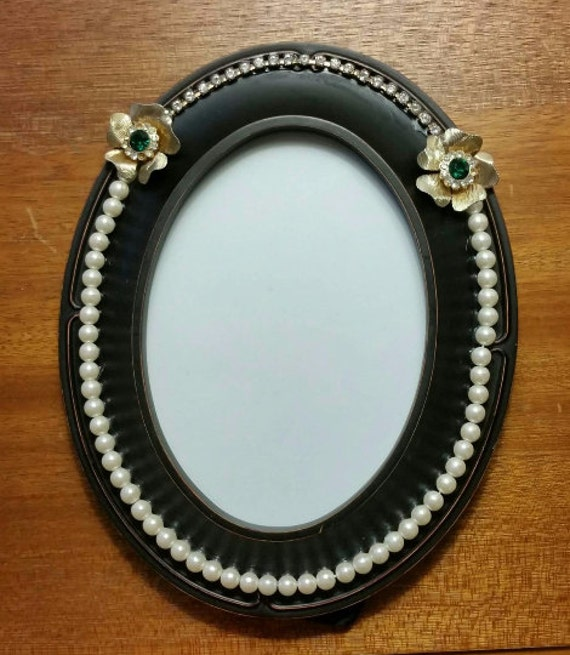 Oval Picture Frame with Pearls, Vintage Flower Earrings, and Real Swarovski Crystal Trim