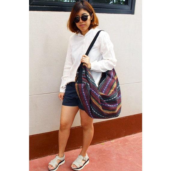 Big Bag Handbags Purse Tote bag Thai Cotton Bag Unique bag Hippie bag Hobo bag Boho bag Shoulder bag Pet bag Everyday bag (BH 02)