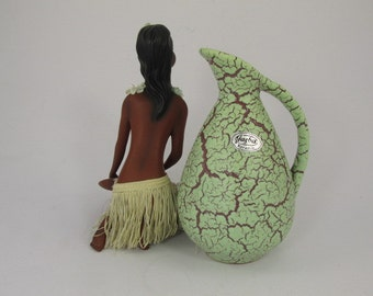 Vintage vase (jug) made by Jasba / mint (green) and bordaux / model 578 16 / decor Cortina   West German Pottery   50s