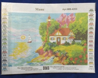 Printed Aida cotton canvas for cross stitch - Lighthouse ( #318)